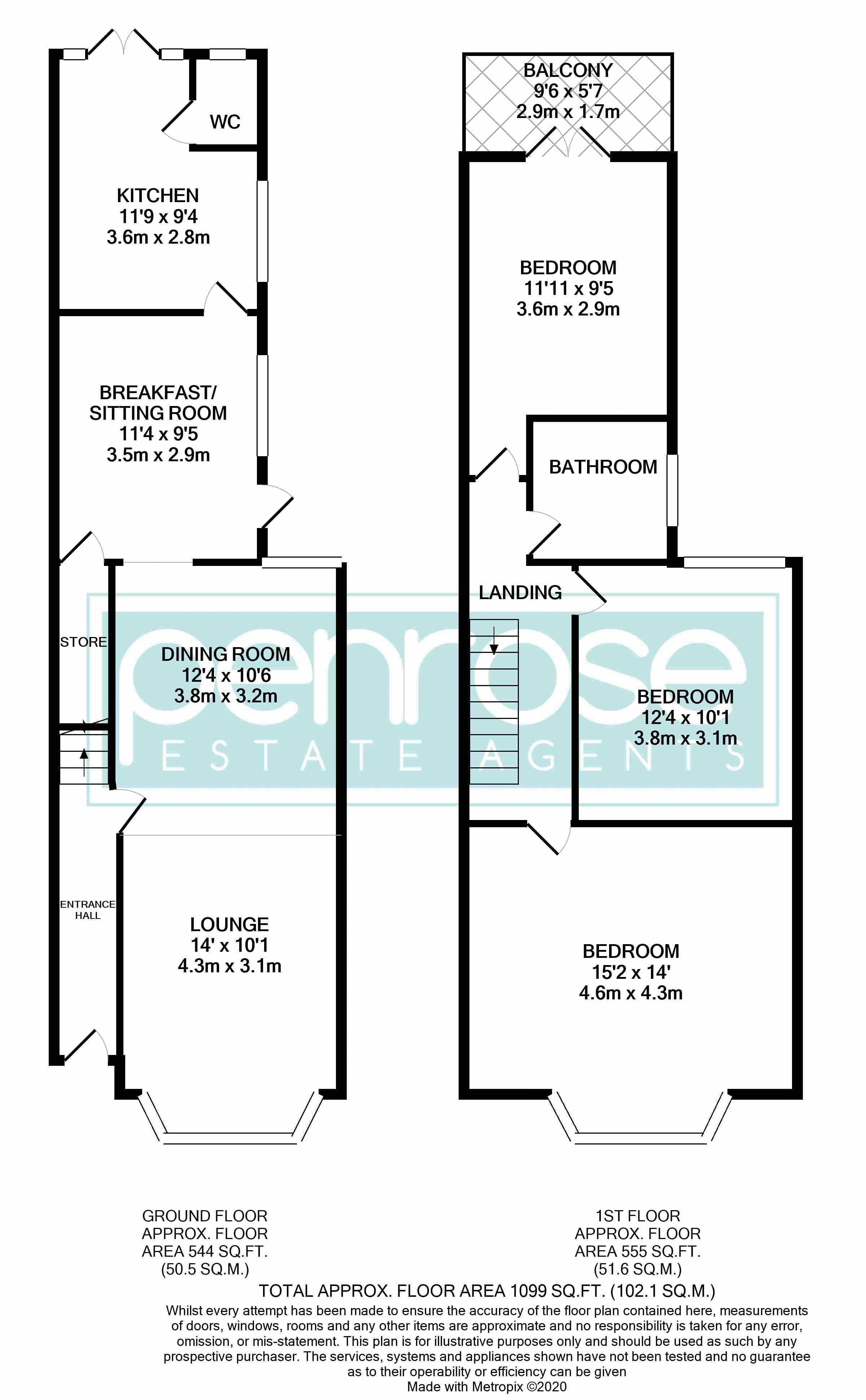 3 bedroom Mid Terrace to buy in Hitchin Road, Luton Floorplan