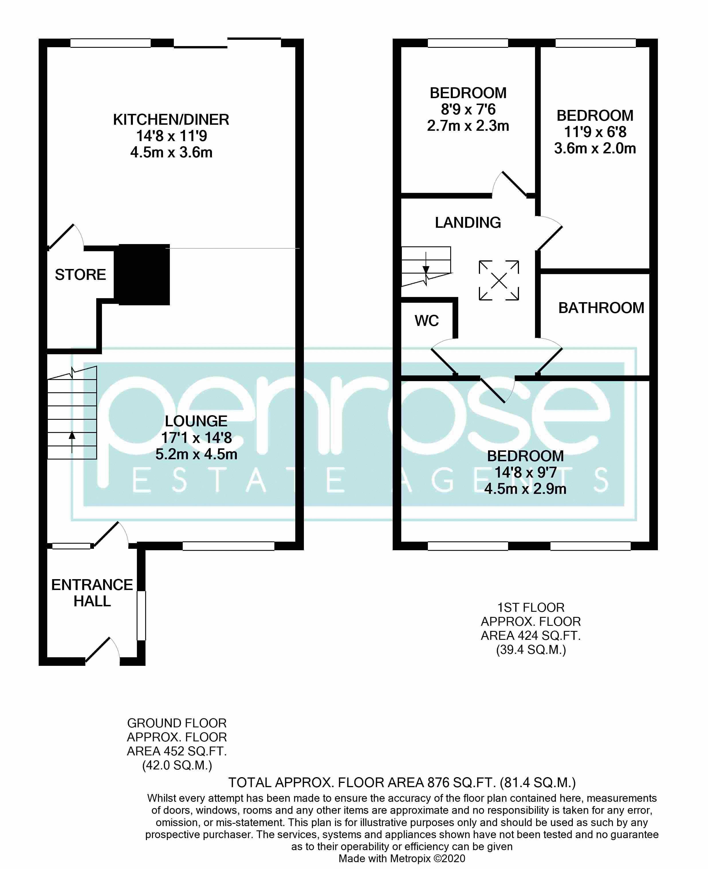 3 bedroom Mid Terrace to buy in Trowbridge Gardens, Luton Floorplan