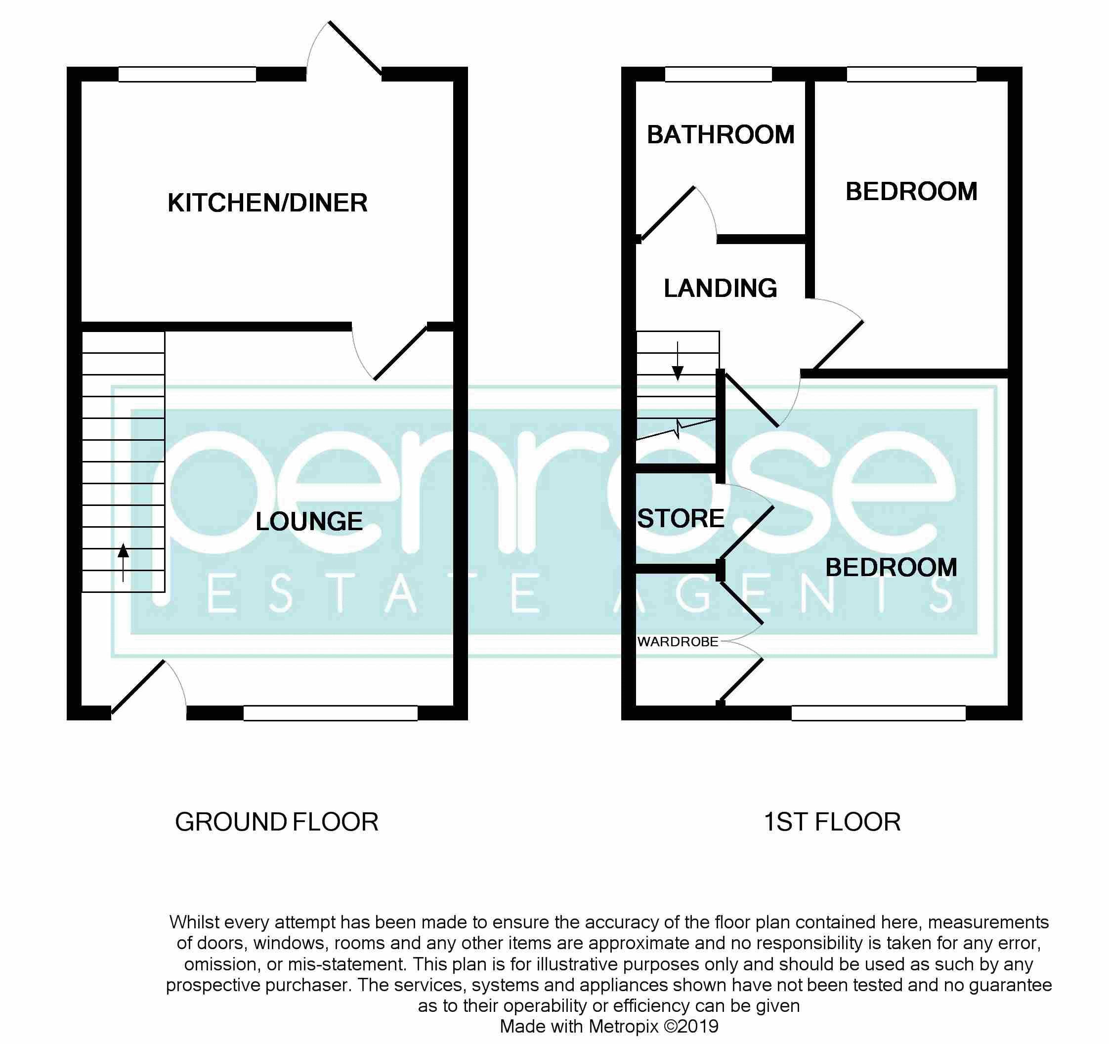 2 bedroom Mid Terrace to buy in Fareham Way, Dunstable Floorplan