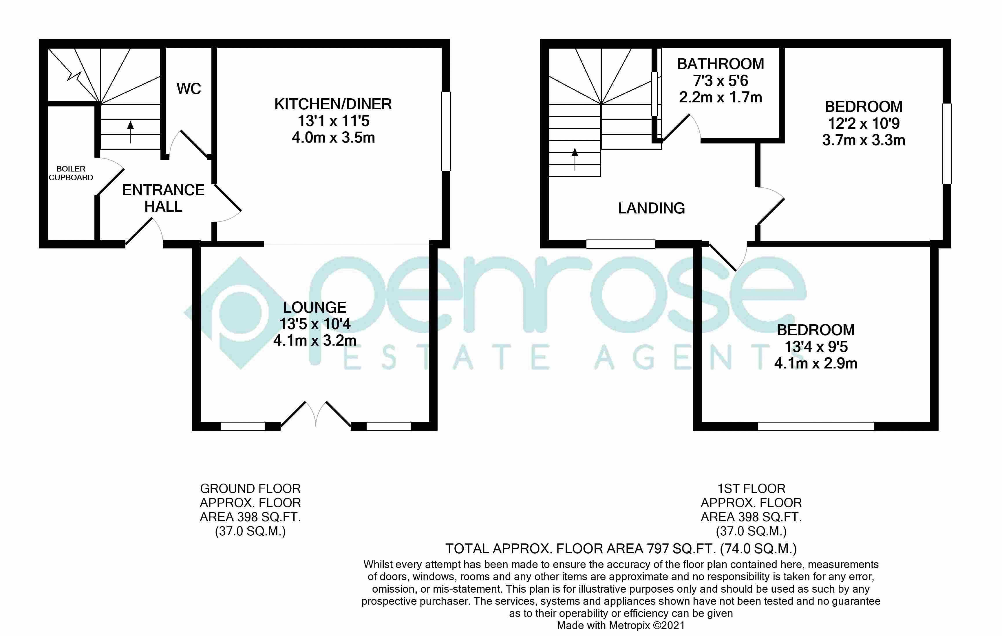 2 bedroom Maisonette to buy in Kingham Way, Luton Floorplan