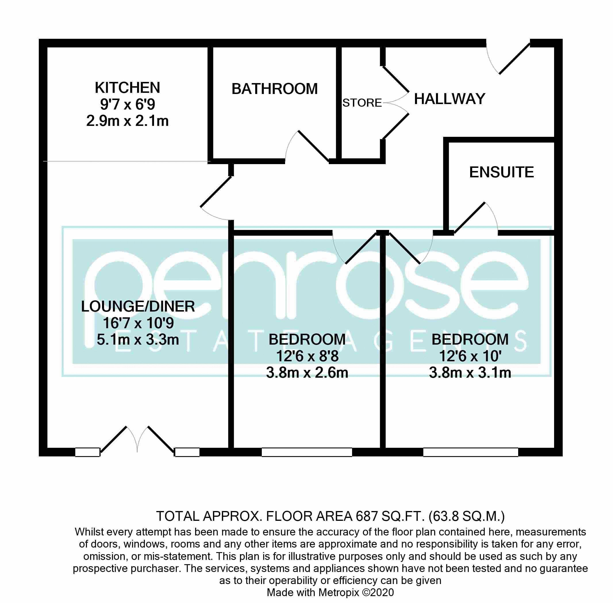 2 bedroom Flat to buy in Peppermint Road, Hitchin Floorplan