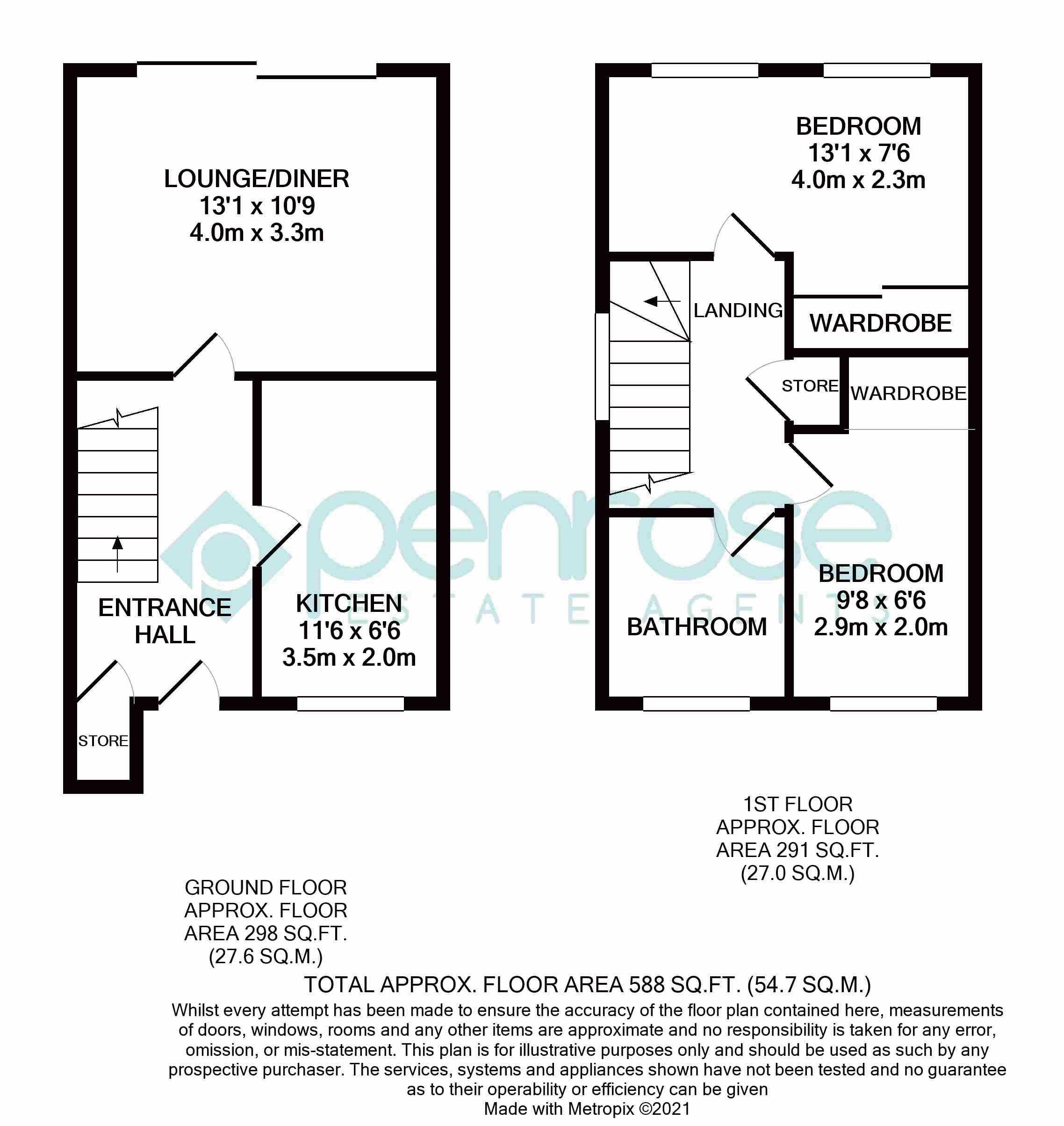2 bedroom End Terrace to buy in Anthony Gardens, Luton Floorplan