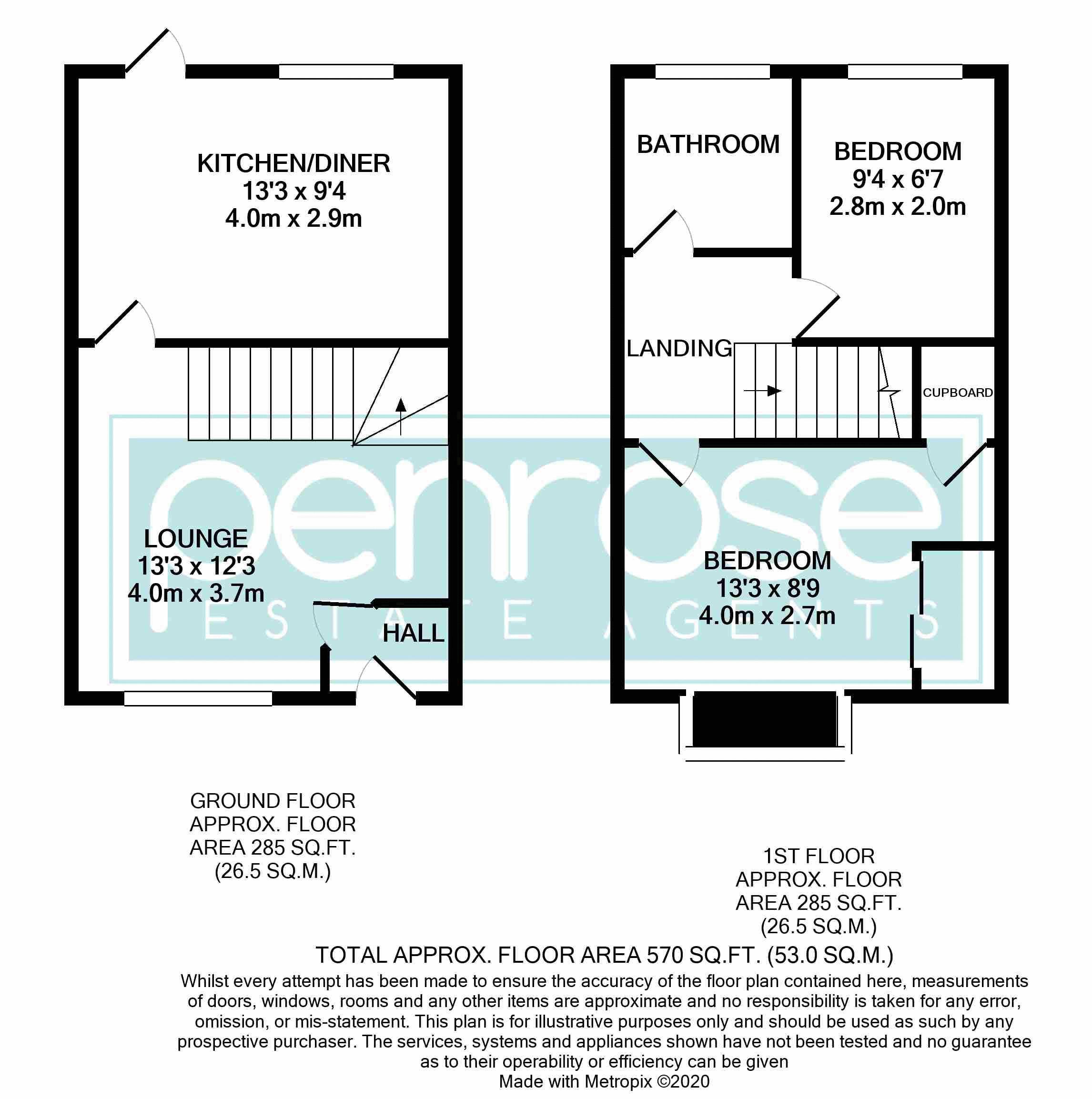 2 bedroom End Terrace to buy in Claverley Green, Luton Floorplan