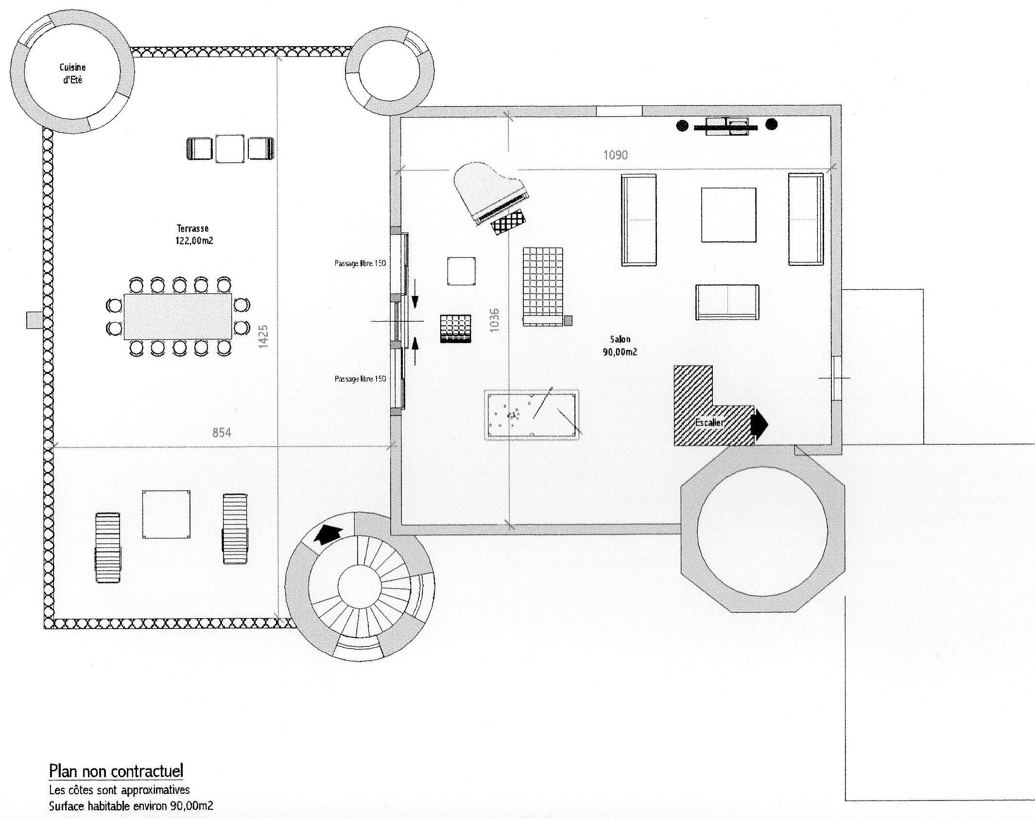 Plan salon et terrasse
