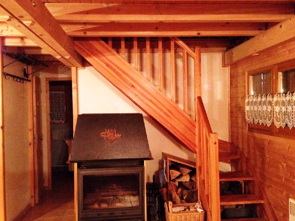 Verchaix chalet wood burner and stairs