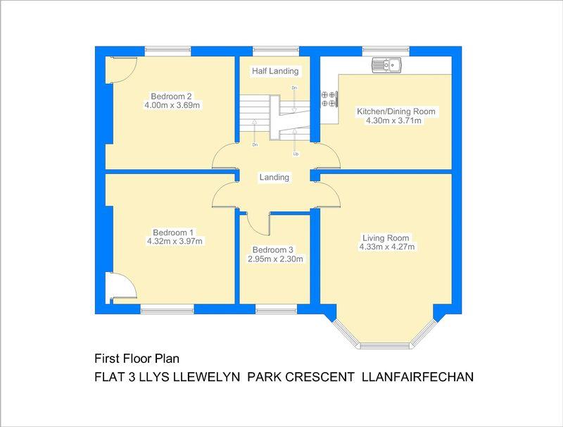 Flat 3 llys llewelyn park crescent llanfairfechan layout2