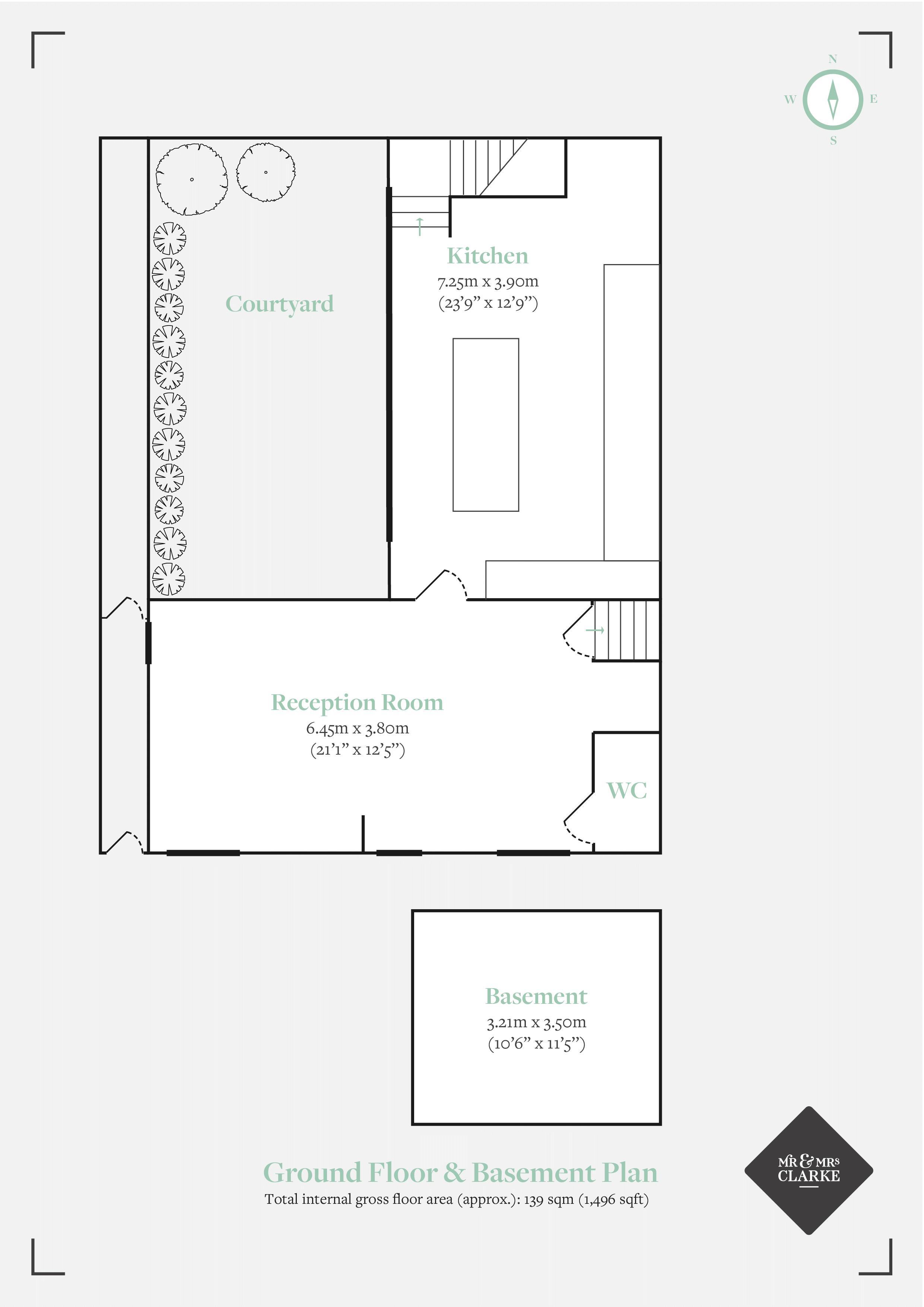 Mary Street, Birmingham Jewellery Quarter. Floorplan. Ground & Basement Plan.