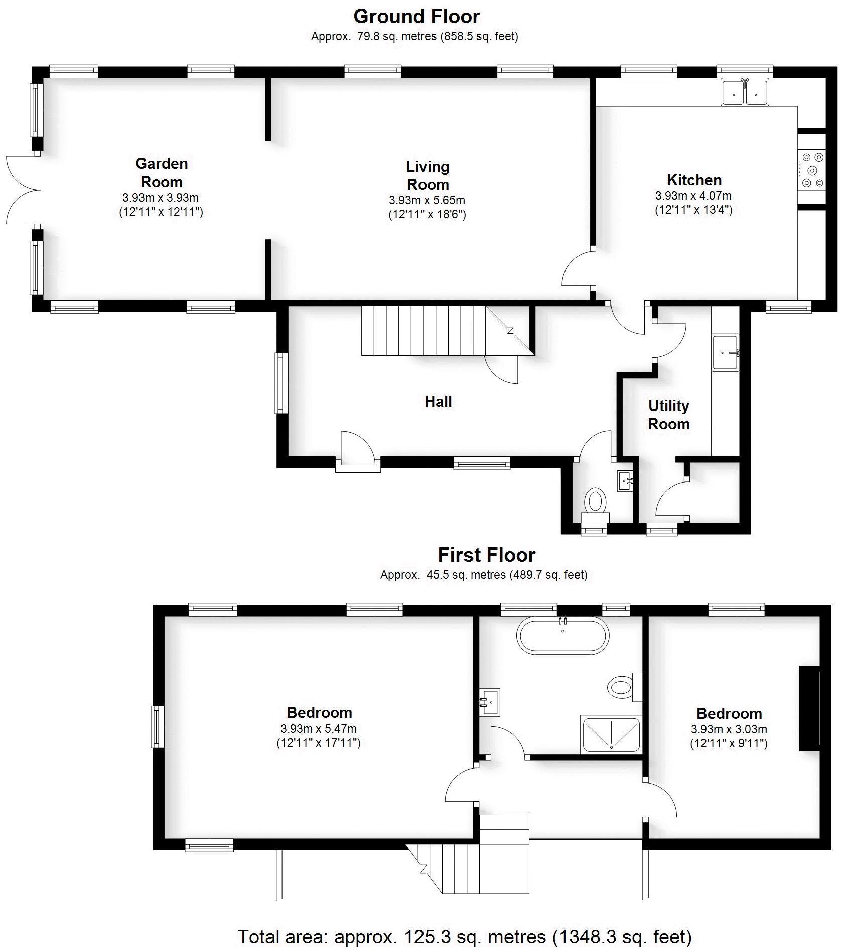 Woodlands Cottage, Rowington. Floorplan. Floorplan.