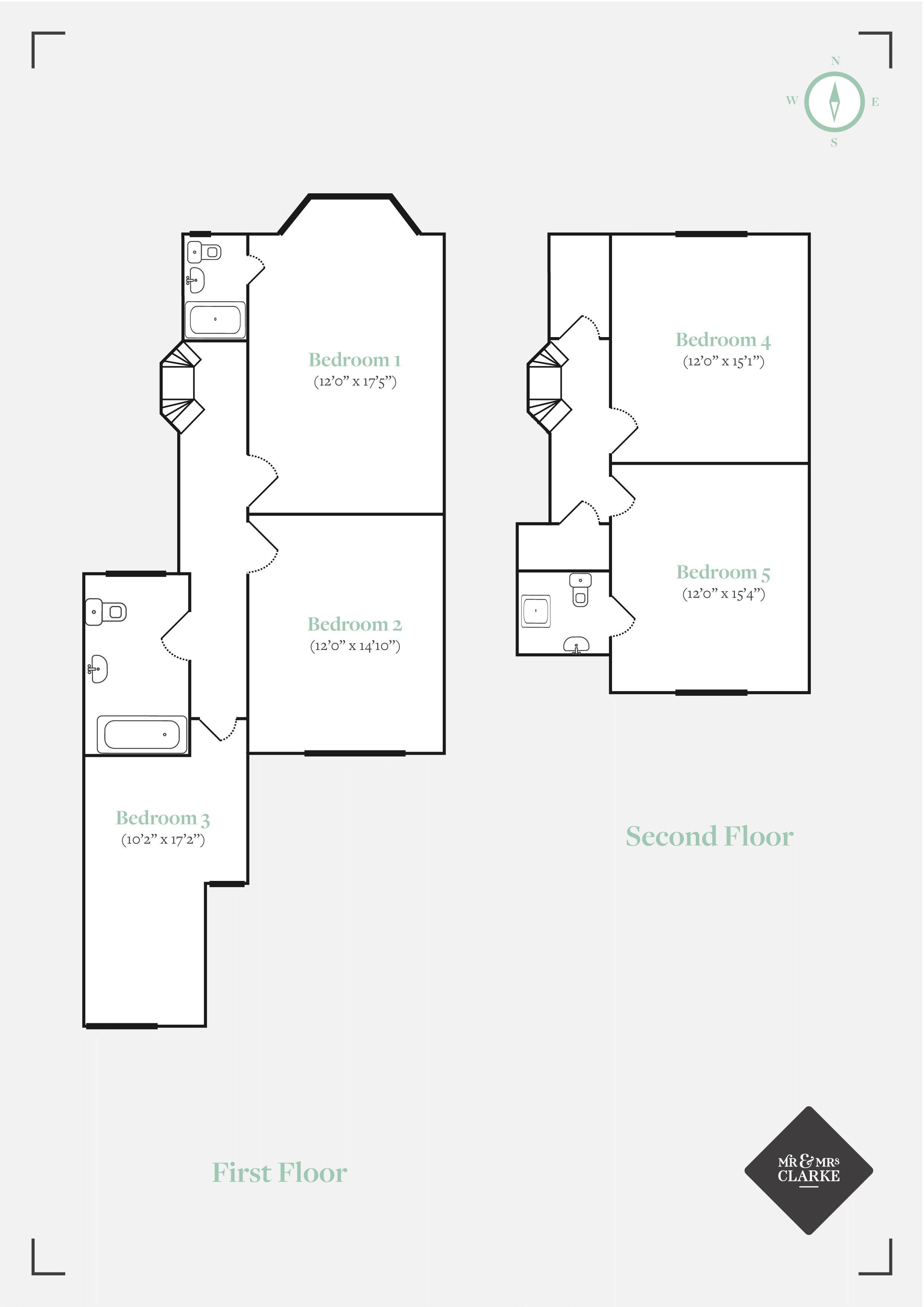 Manor Grove, Tonbridge. Floorplan. First Second Floor Plan.