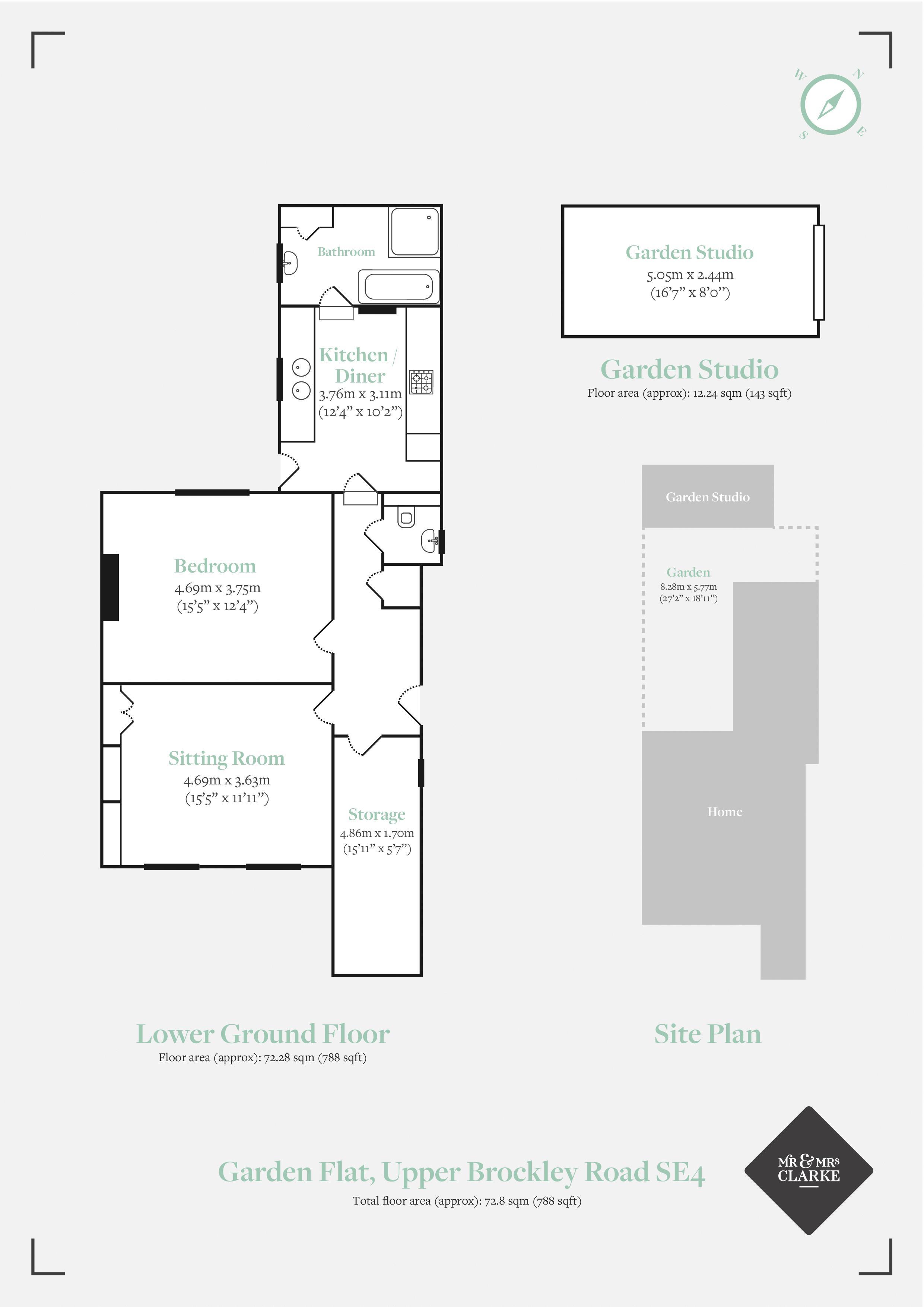 Garden Flat, Upper Brockley Road SE4. Floorplan. Floor Plan.