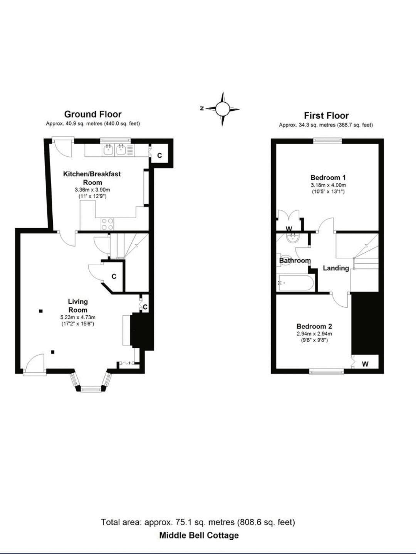 Middle Bell Cottage, Tanworth in Arden. Floorplan. Floorplan.
