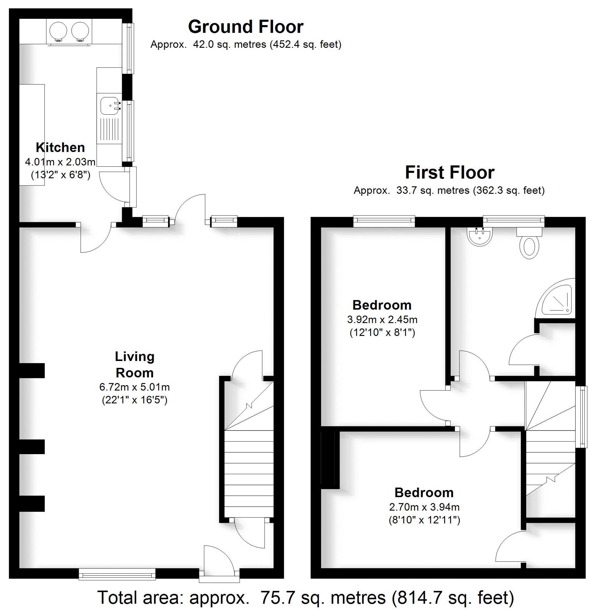 Min-Y-Don Cottage, Lapworth. Floorplan. .