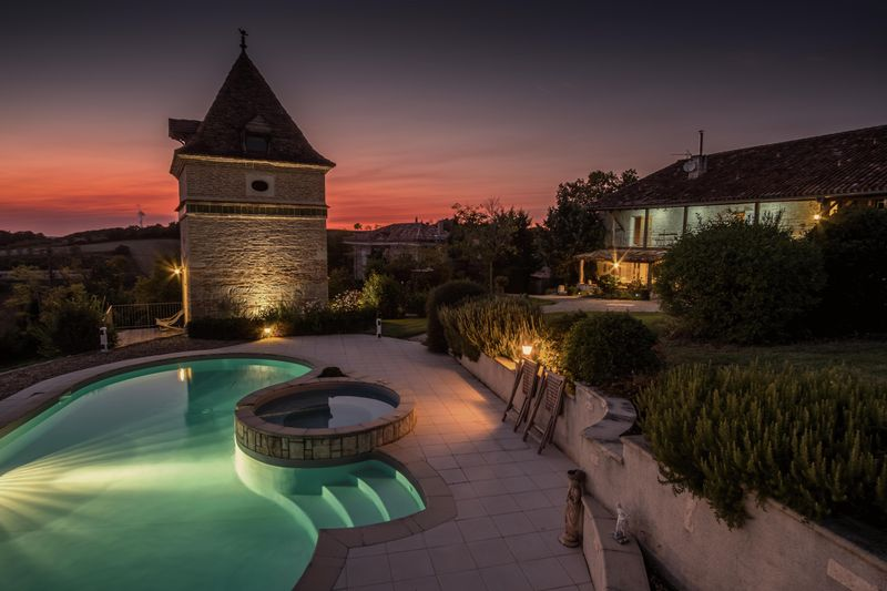 Beautifully converted stone barn: heated pool, converted pigeonnier, views