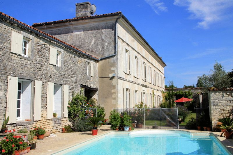 Formal French house with guest cottage, pool + 5 acres