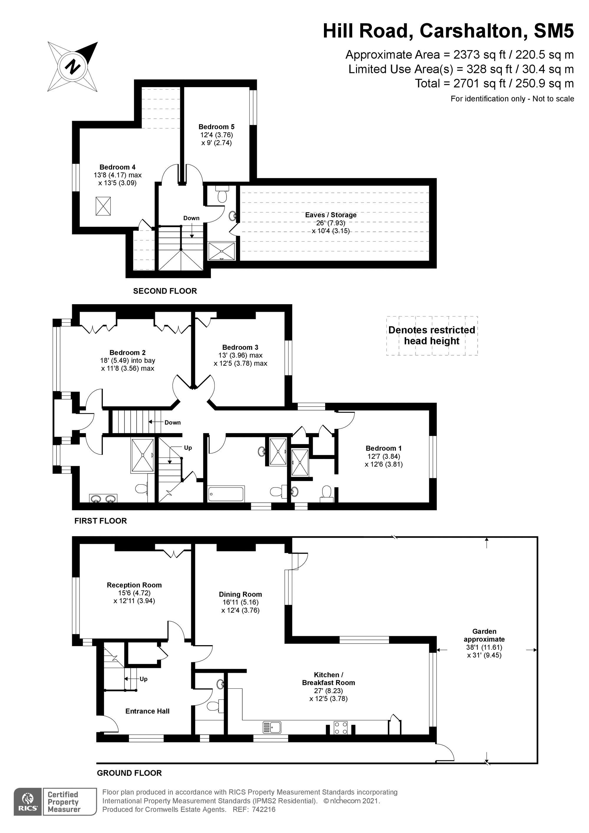 5 bedroom semi detached house SSTC in Carshalton Beeches - floorplan 1.