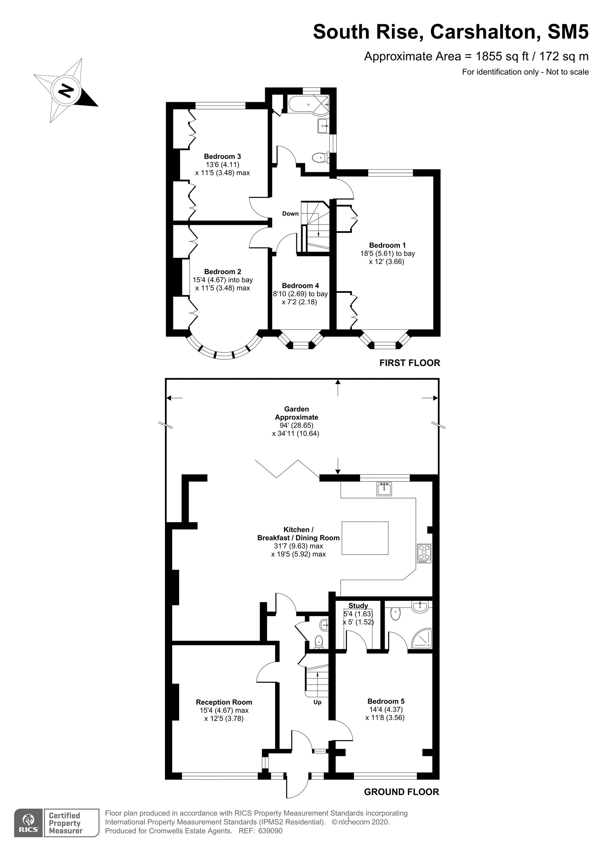 5 bedroom semi detached house For Sale in Carshalton Beeches - floorplan 1.
