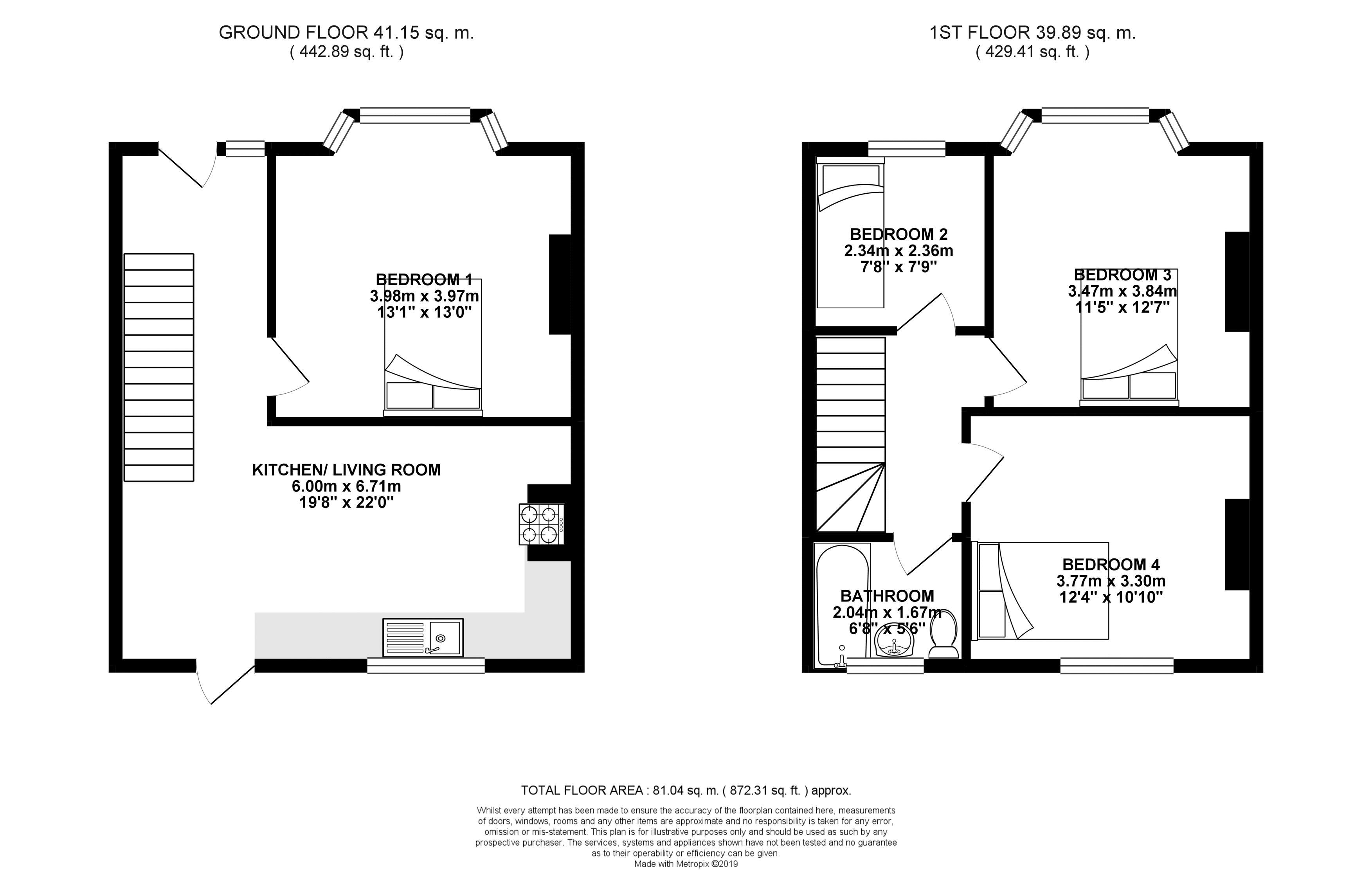 Floor plans for Carlyle Avenue, Brighton property for sale in Bevendean, Brighton by Coapt