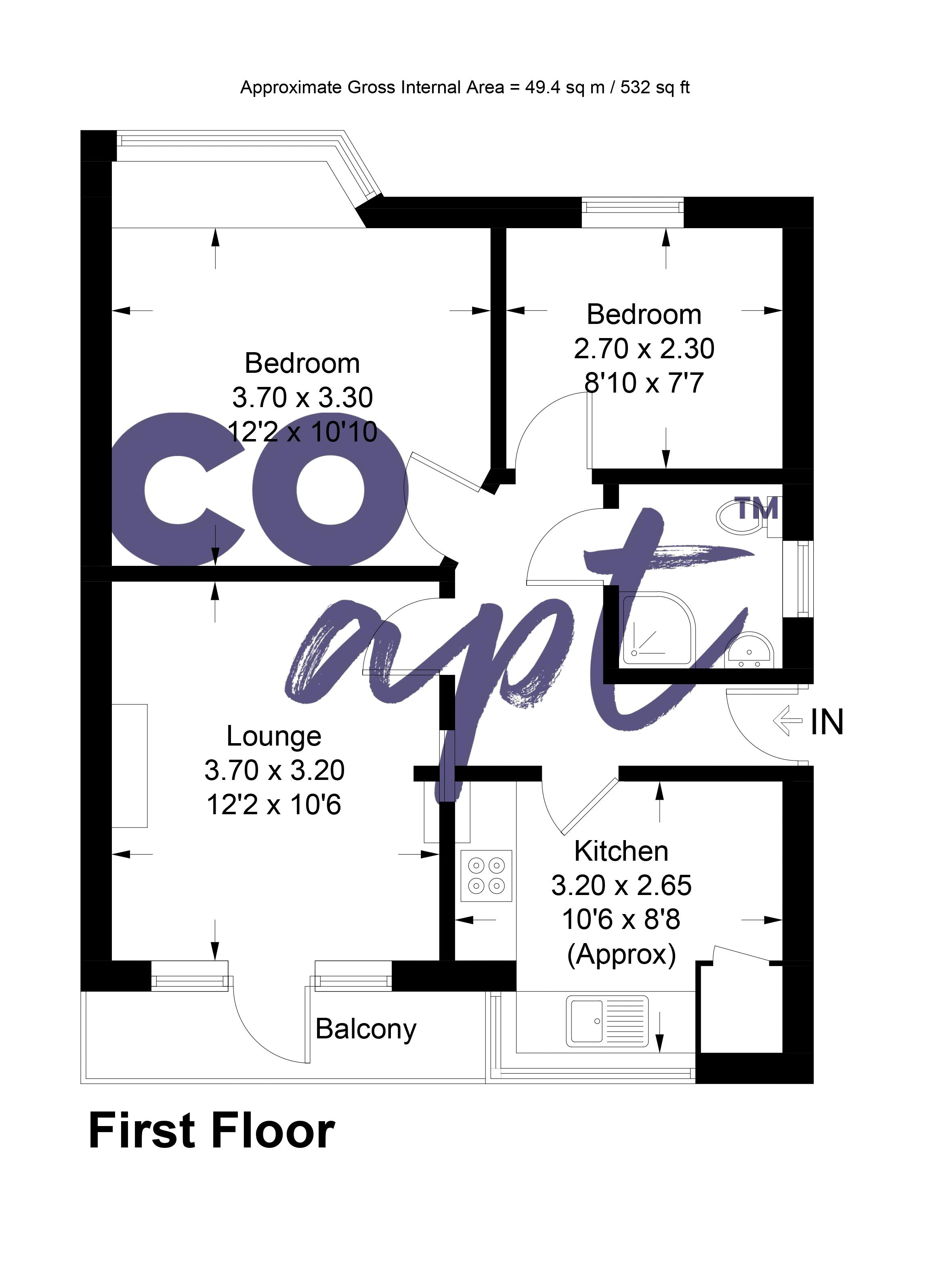 Floor plans for Hillside Way, Brighton property for sale in Bevendean, Brighton by Coapt