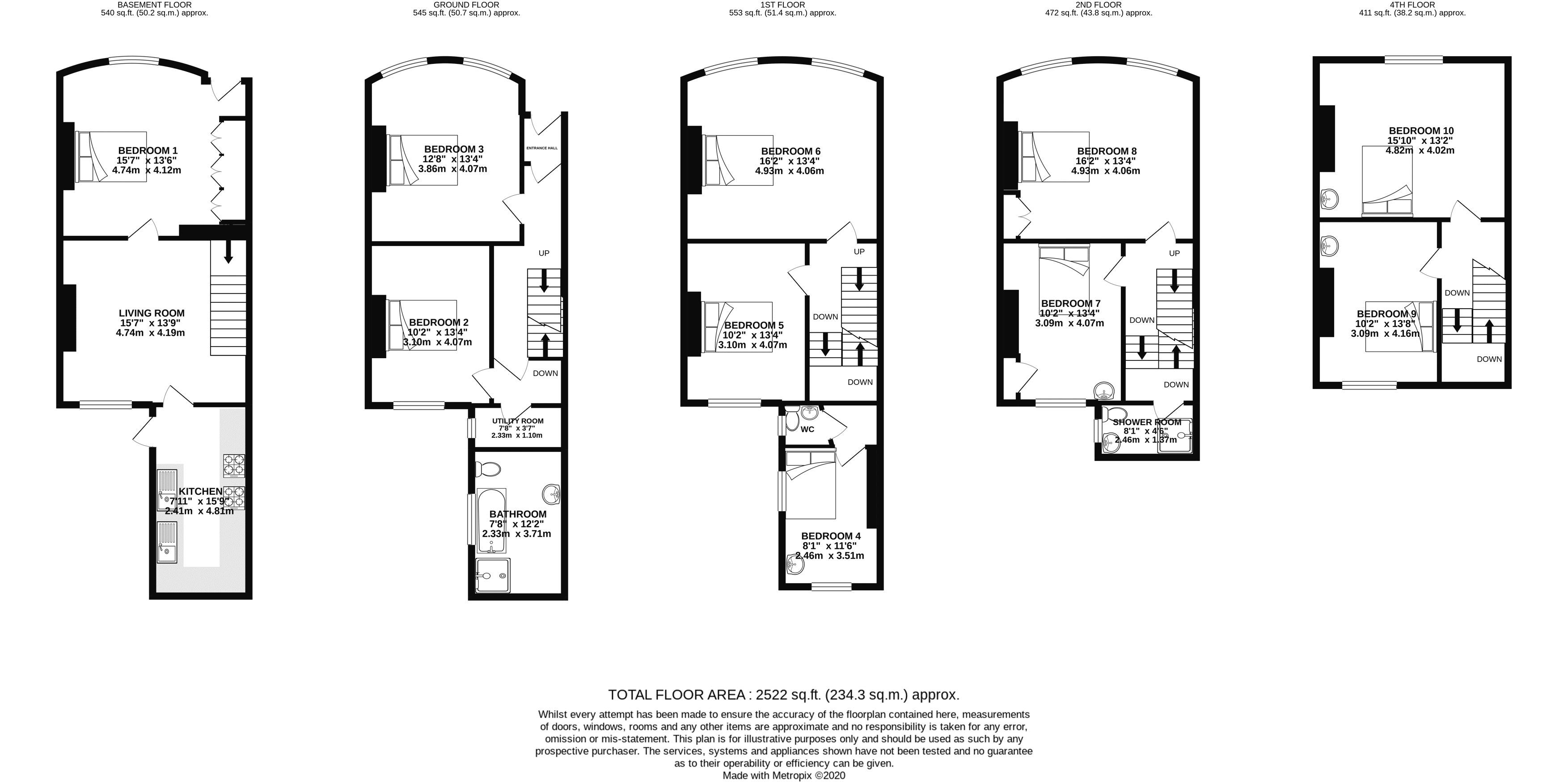Floor plans for St. Georges Terrace, Brighton property for sale in Kemptown, Brighton by Coapt