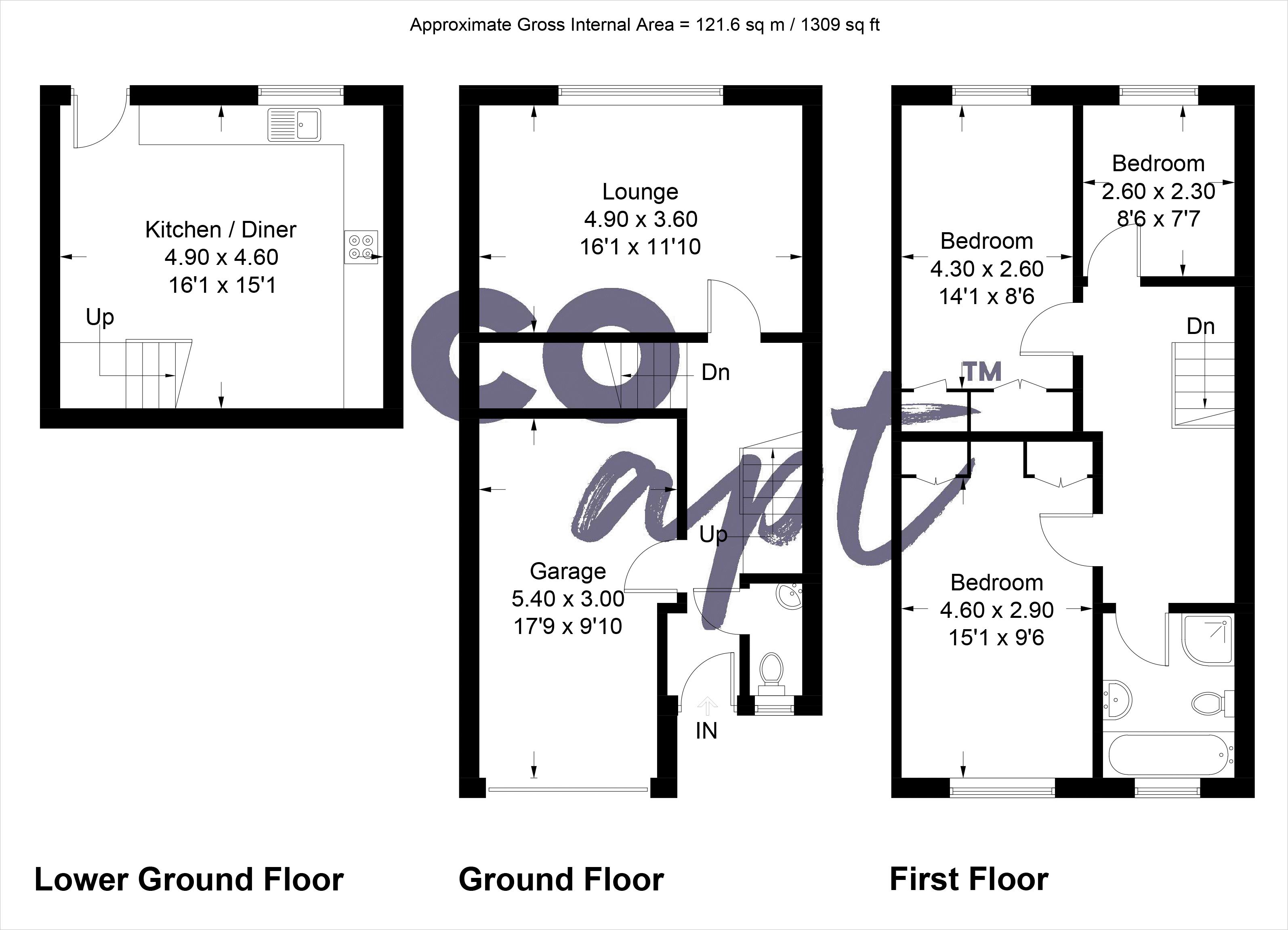 Floor plans for Slinfold Close, Brighton property for sale in Kemptown, Brighton by Coapt