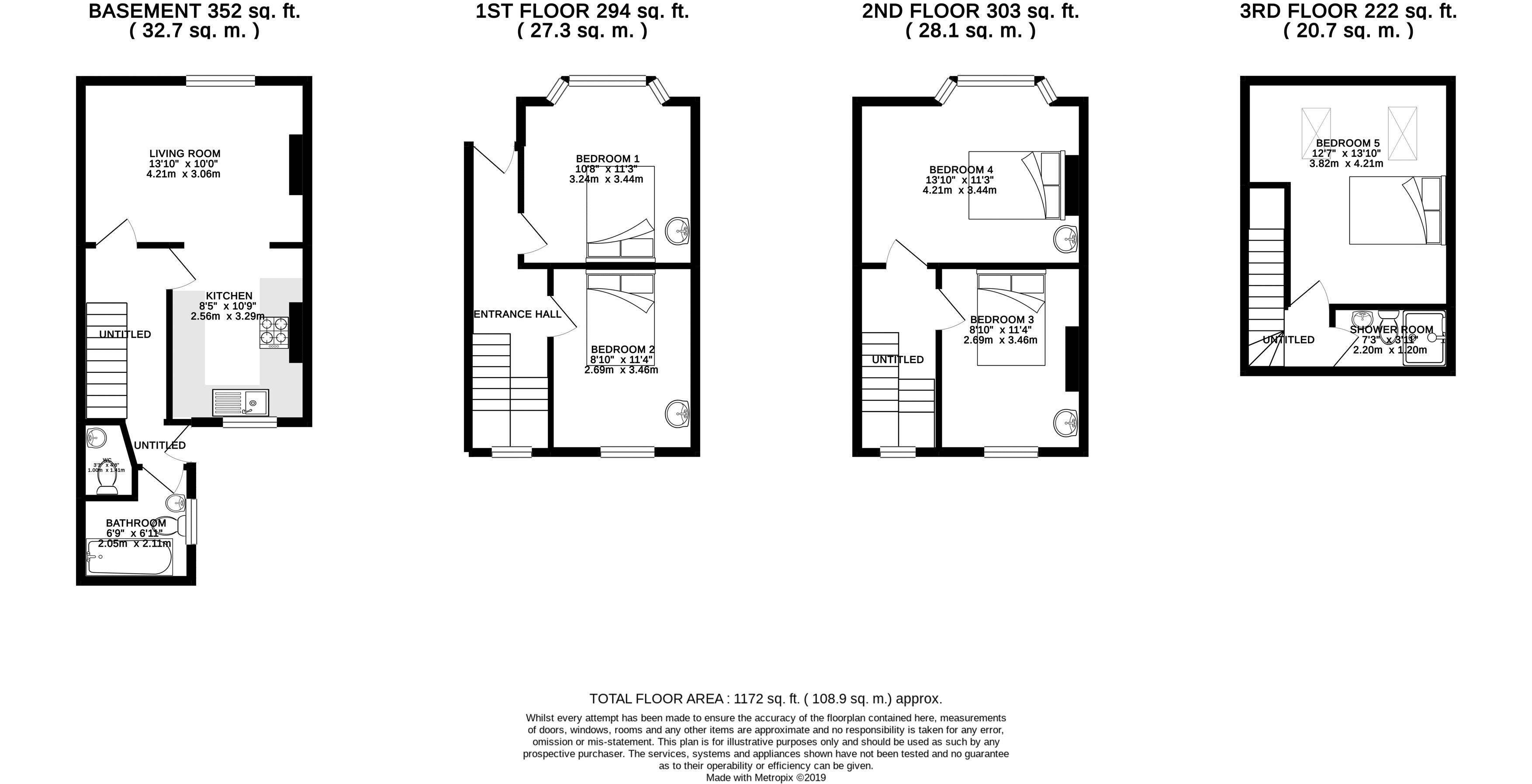 Floor plans for Park Crescent Road, Brighton property for sale in Lewes Road South, Brighton by Coapt