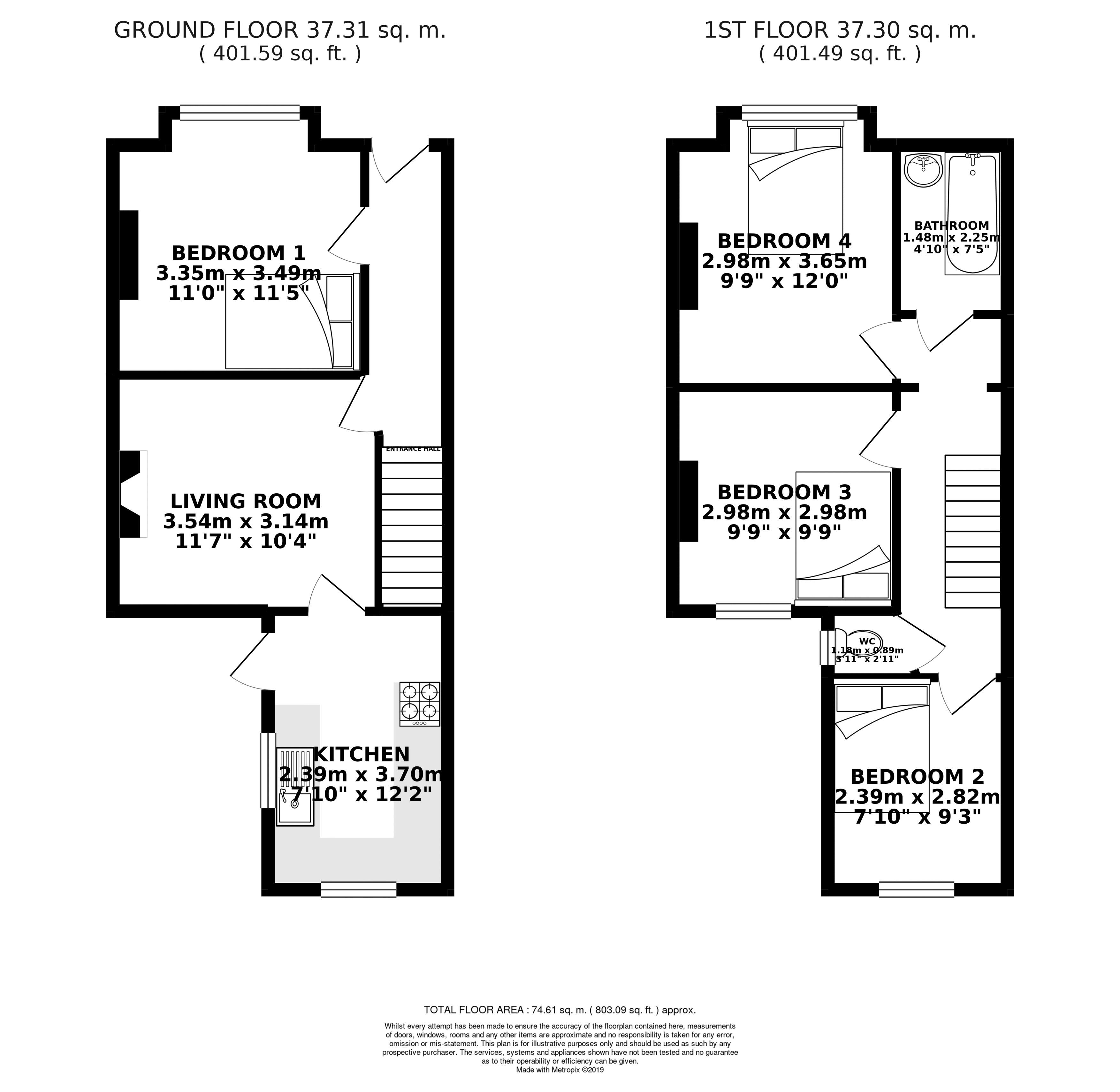 Floor plans for Totland Road, Brighton property for sale in Elm Grove, Brighton by Coapt