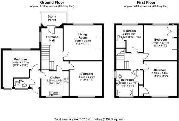 Floor plans for Selham Close, Brighton property for sale in Coldean, Brighton by Coapt