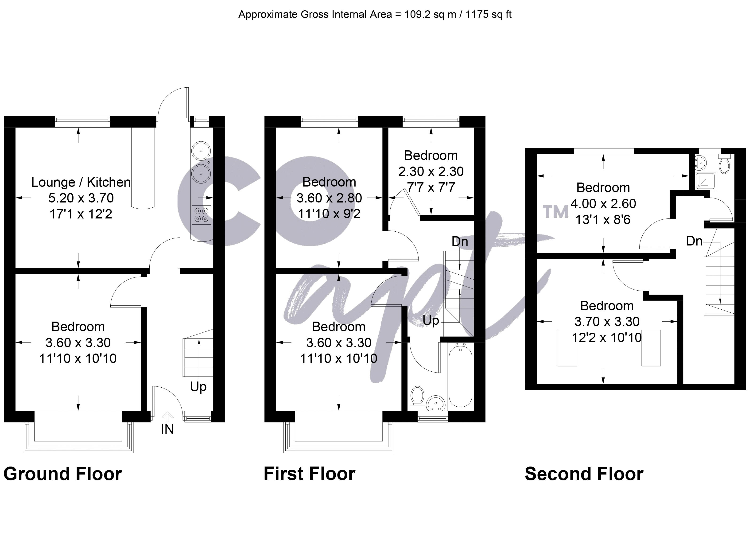 Floor plans for Milner Road, Brighton property for sale in Coombe Road, Brighton by Coapt