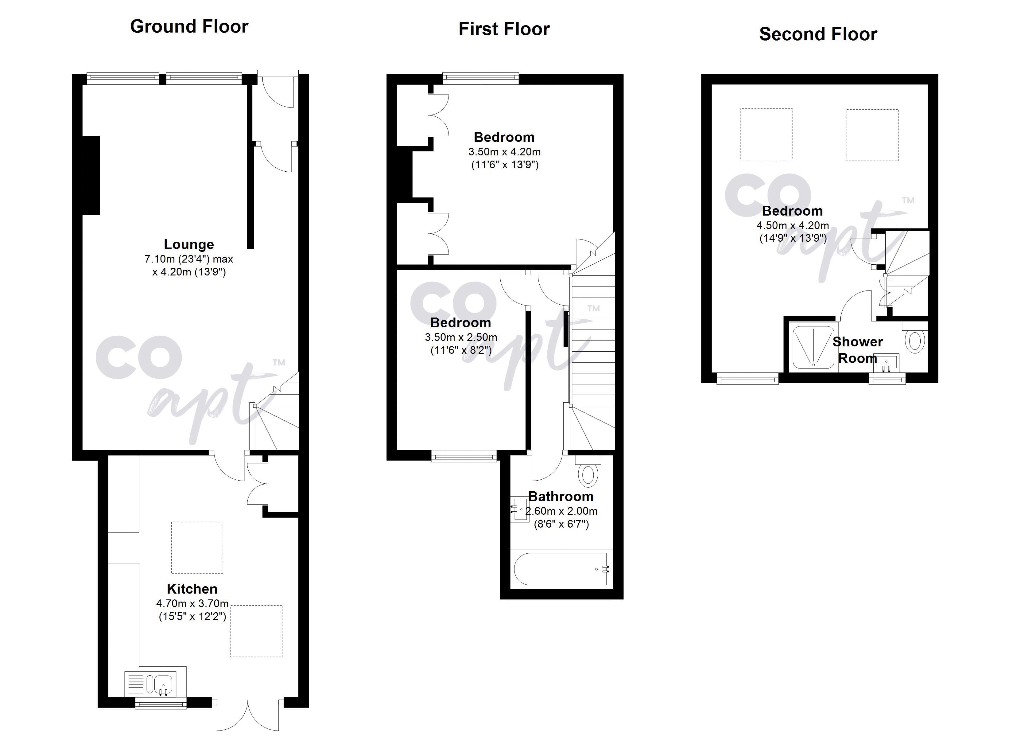 Floor plans for Sandgate Road, Brighton property for sale in Fiveways, Brighton by Coapt