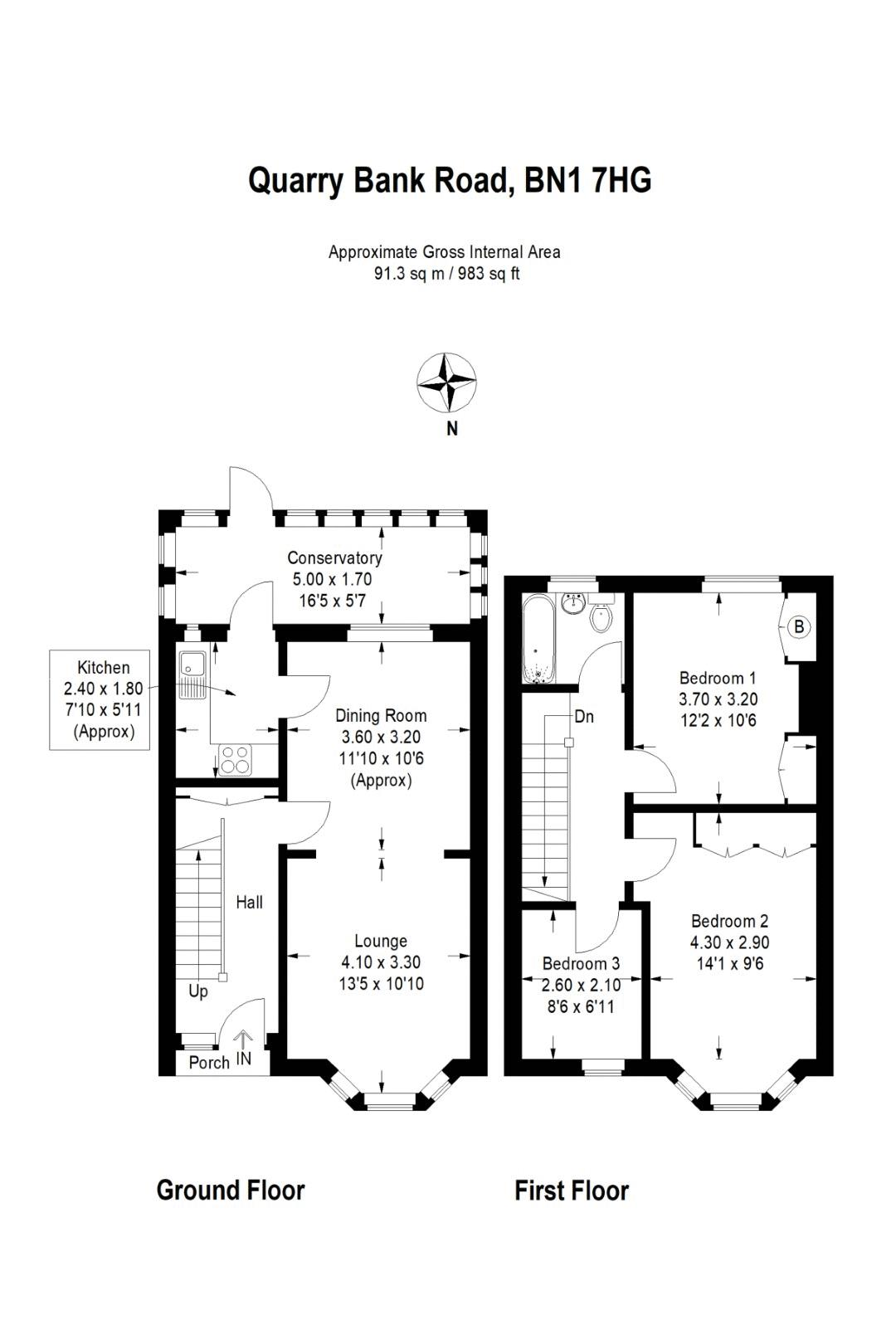 Floor plans for Quarry Bank Road, Brighton property for sale in Hollingdean, Brighton by Coapt