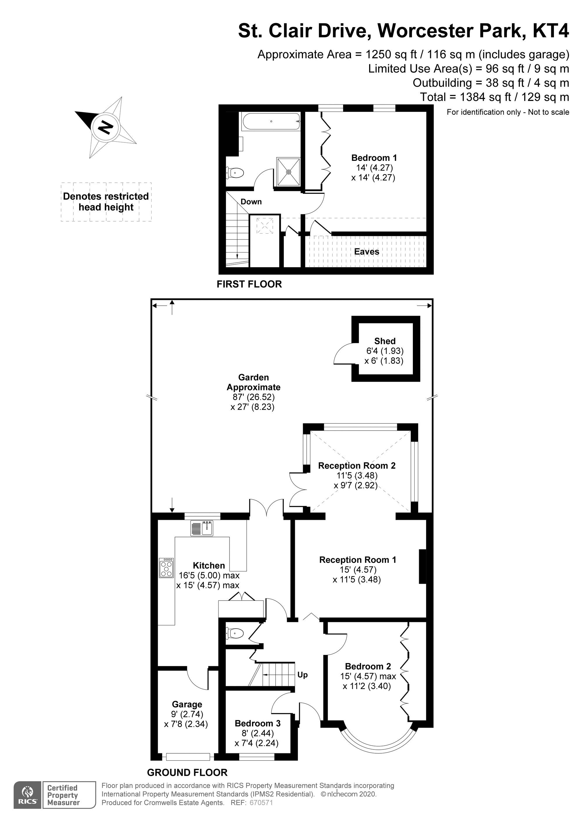 3 bedroom semi detached bungalow Under Offer in Worcester Park - floorplan 1.