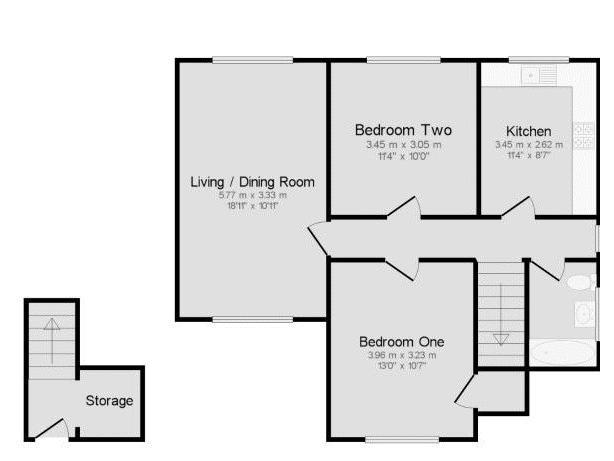 2 bedroom upper floor flat maisonette Under Offer in Worcester Park - floorplan 1.