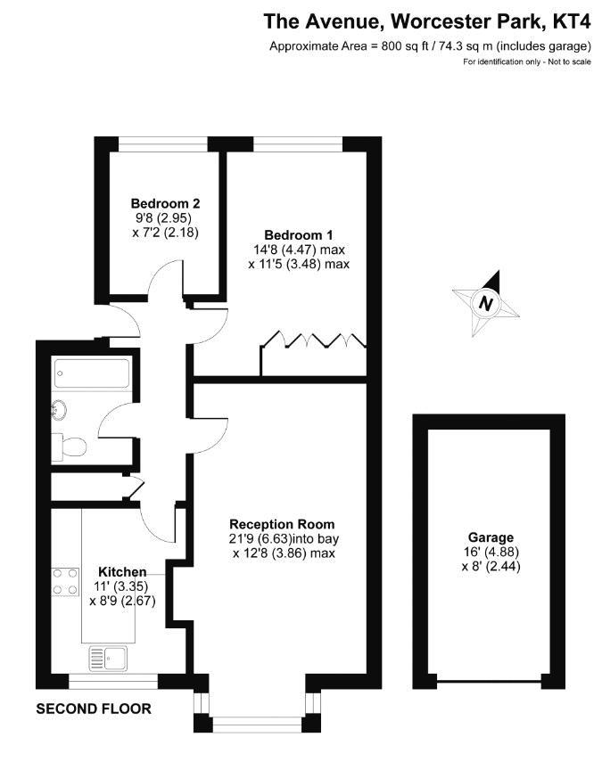 2 bedroom upper floor flat flat For Sale in Worcester Park - floorplan 1.