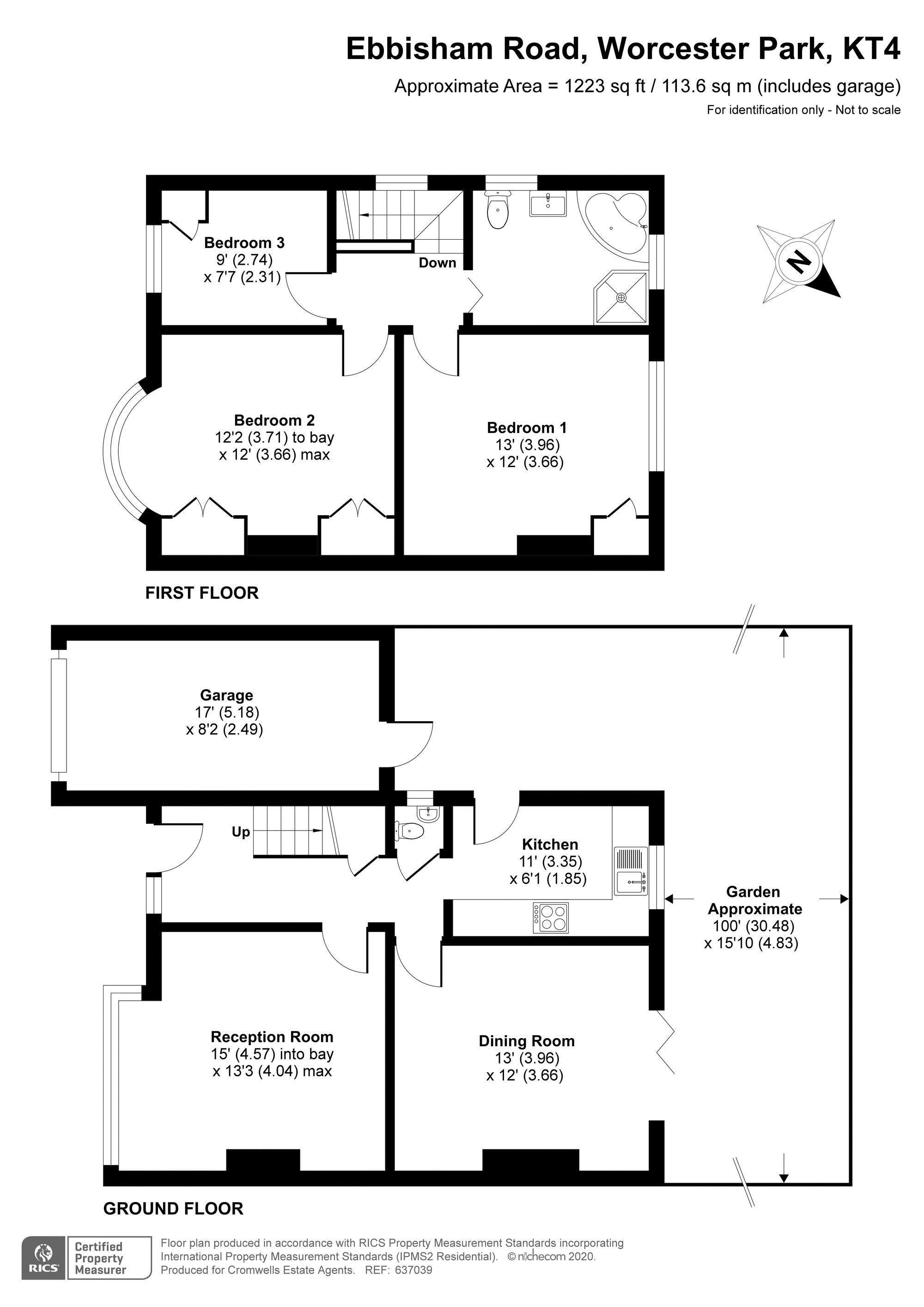 3 bedroom semi detached house Under Offer in Worcester Park - floorplan 1.