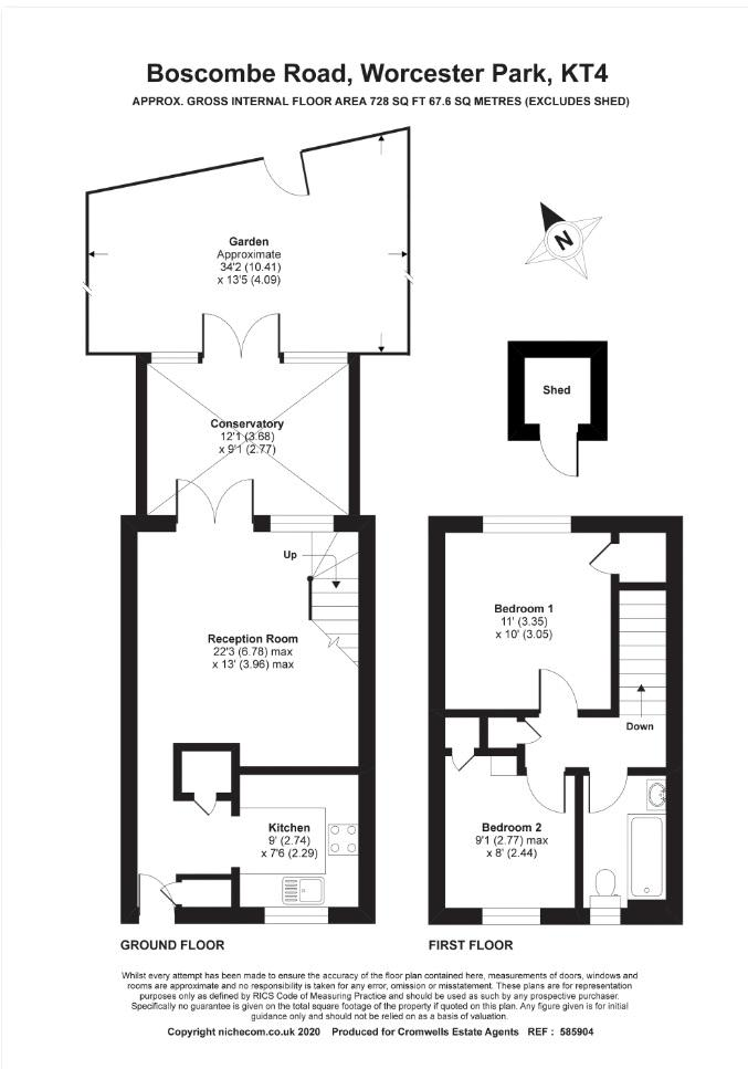 2 bedroom terraced house Under Offer in Worcester Park - floorplan 1.