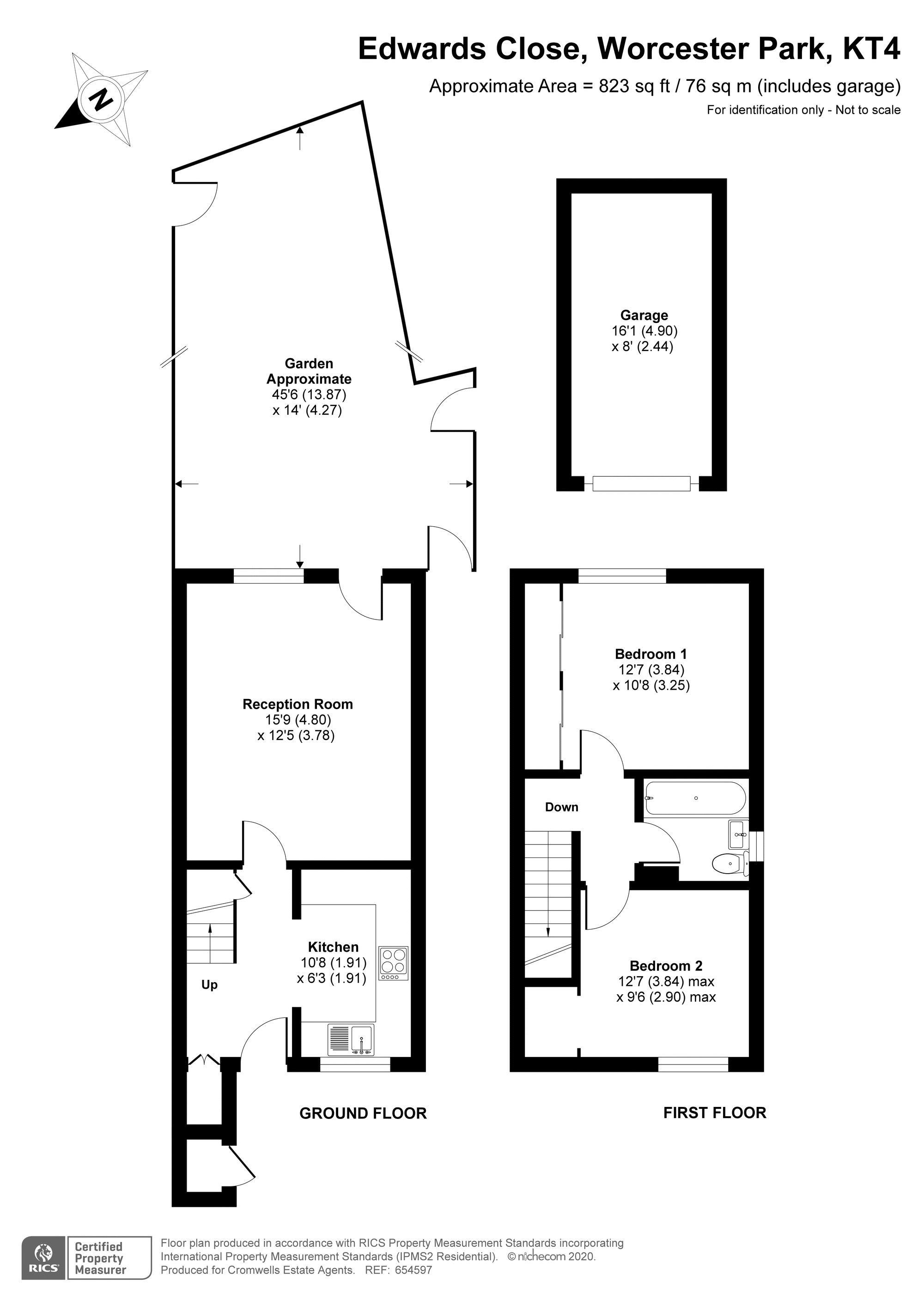 2 bedroom end terrace house For Sale in Worcester Park - floorplan 1.