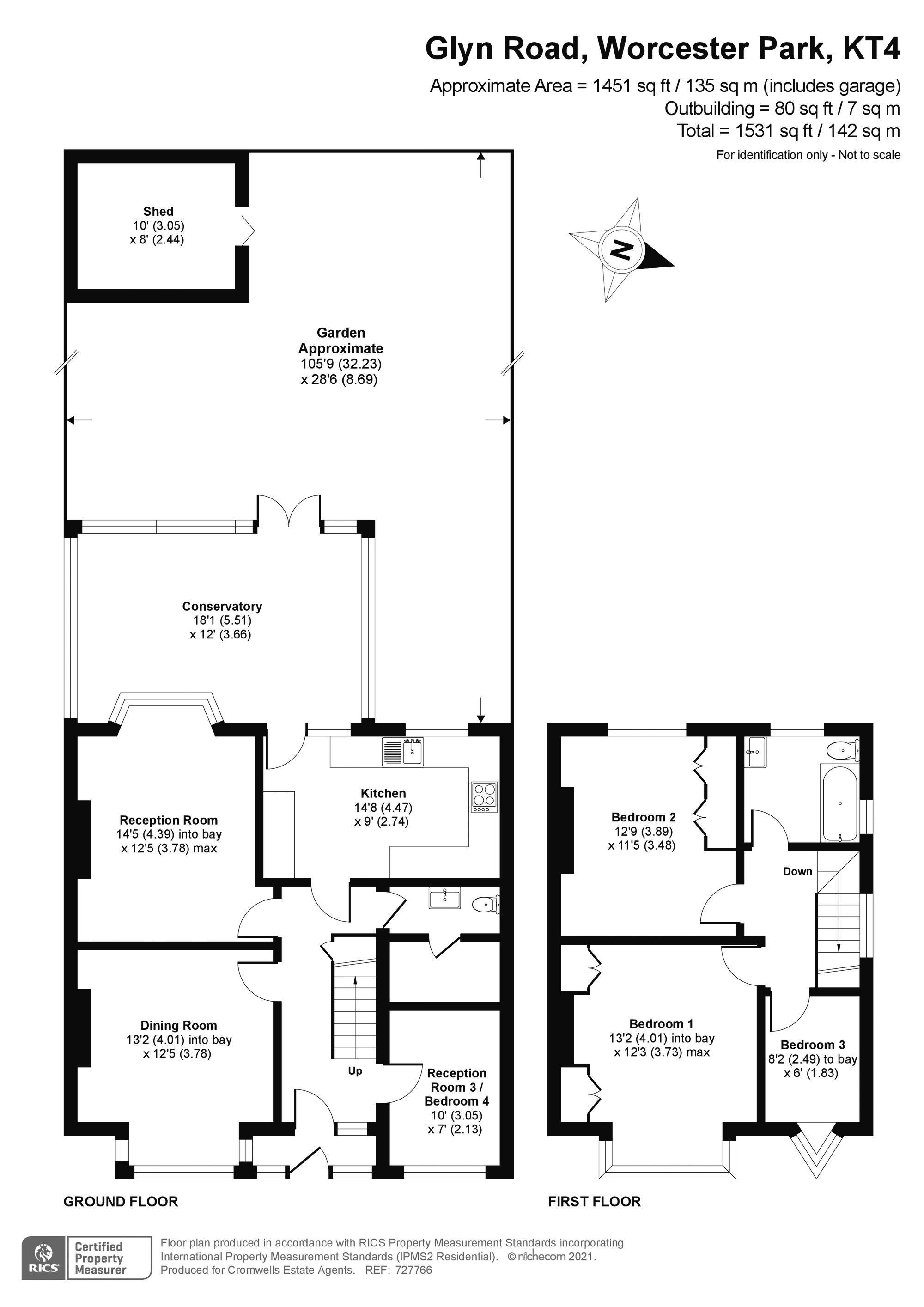 4 bedroom semi detached house Under Offer in Worcester Park - floorplan 1.
