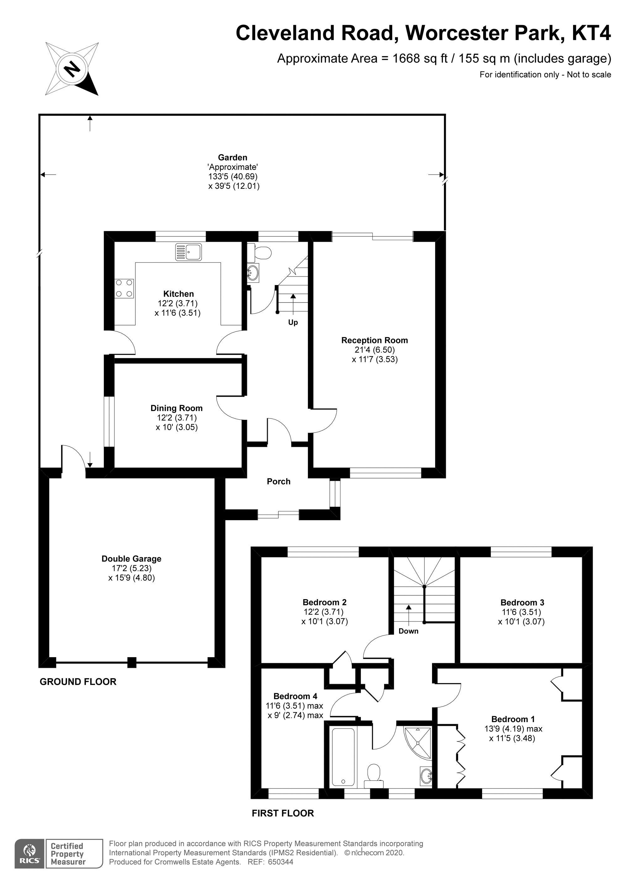 4 bedroom detached house For Sale in Worcester Park - floorplan 1.