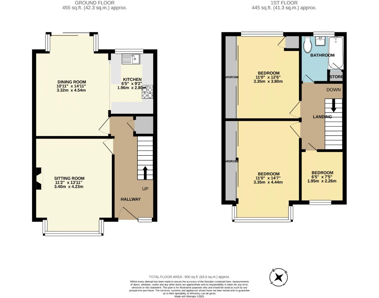 3 bedroom terraced house SSTC in Cheam - floorplan 1.