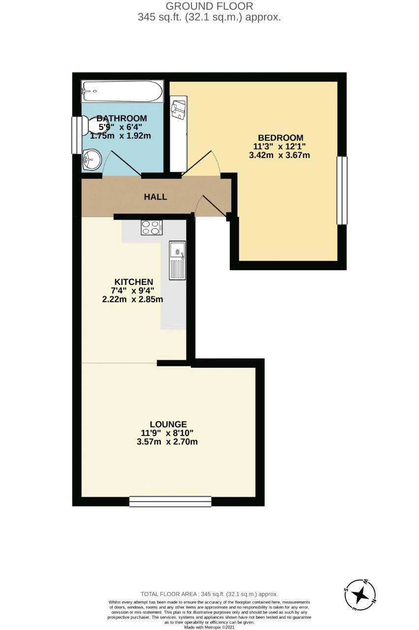 1 bedroom ground floor flat flat For Sale in Sutton - floorplan 1.