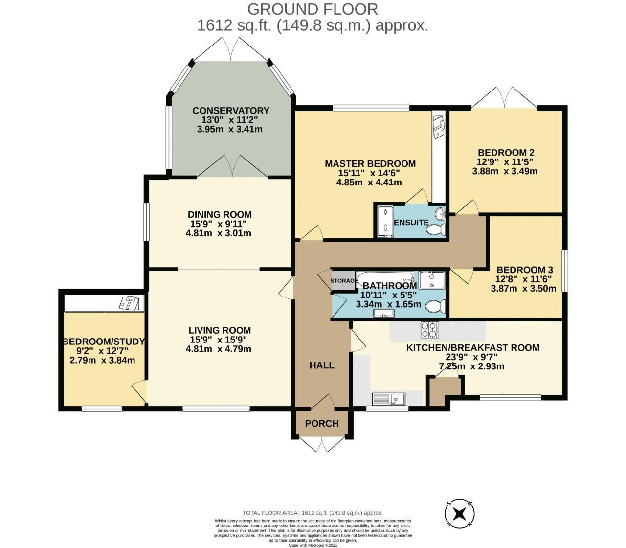 4 bedroom detached bungalow SSTC in Sutton - floorplan 1.