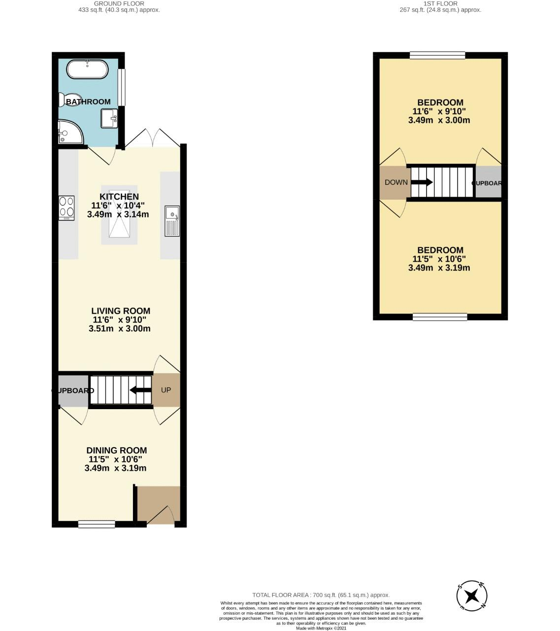 2 bedroom terraced house For Sale in Sutton - floorplan 1.