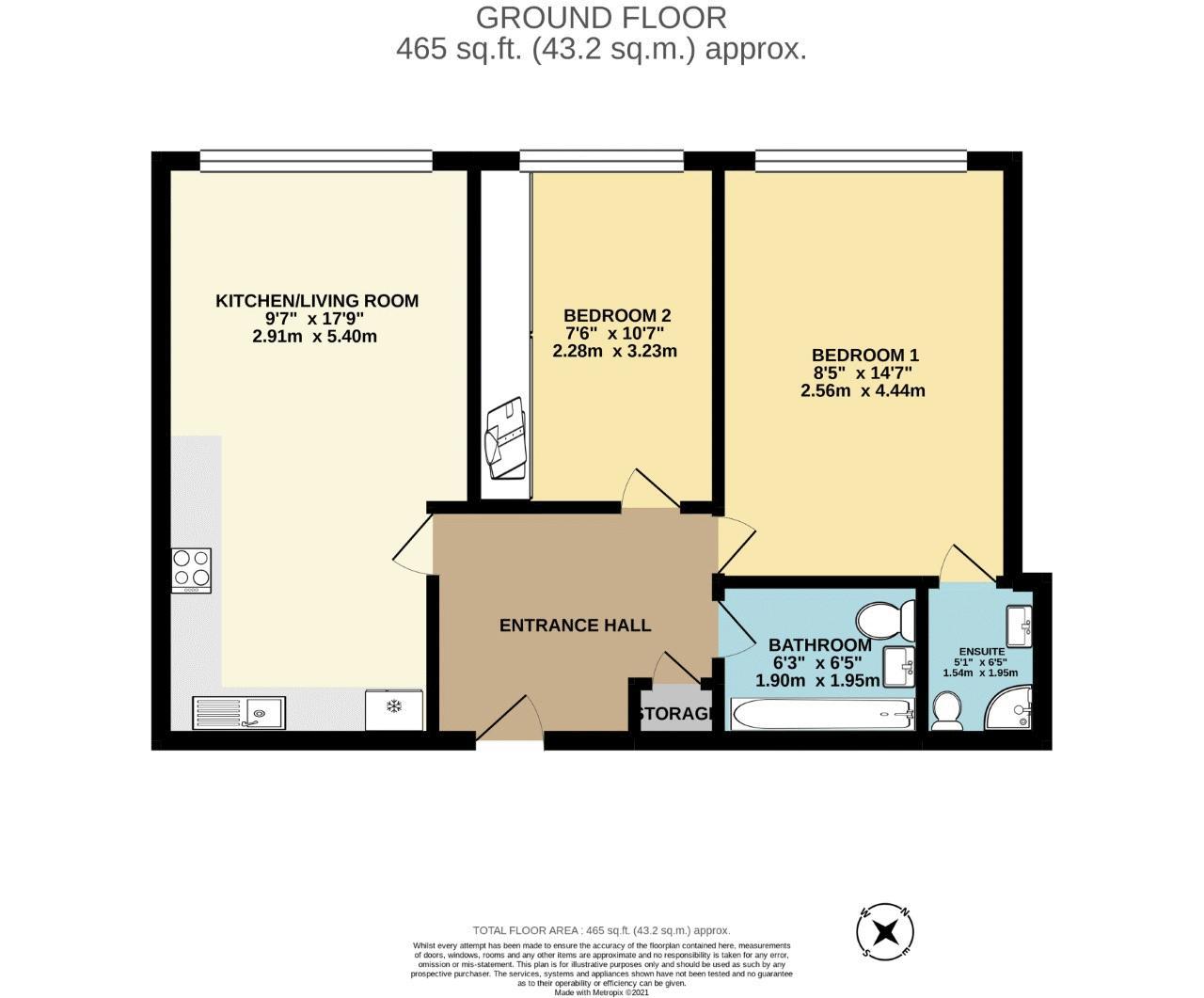 2 bedroom ground floor flat flat For Sale in Sutton - floorplan 1.
