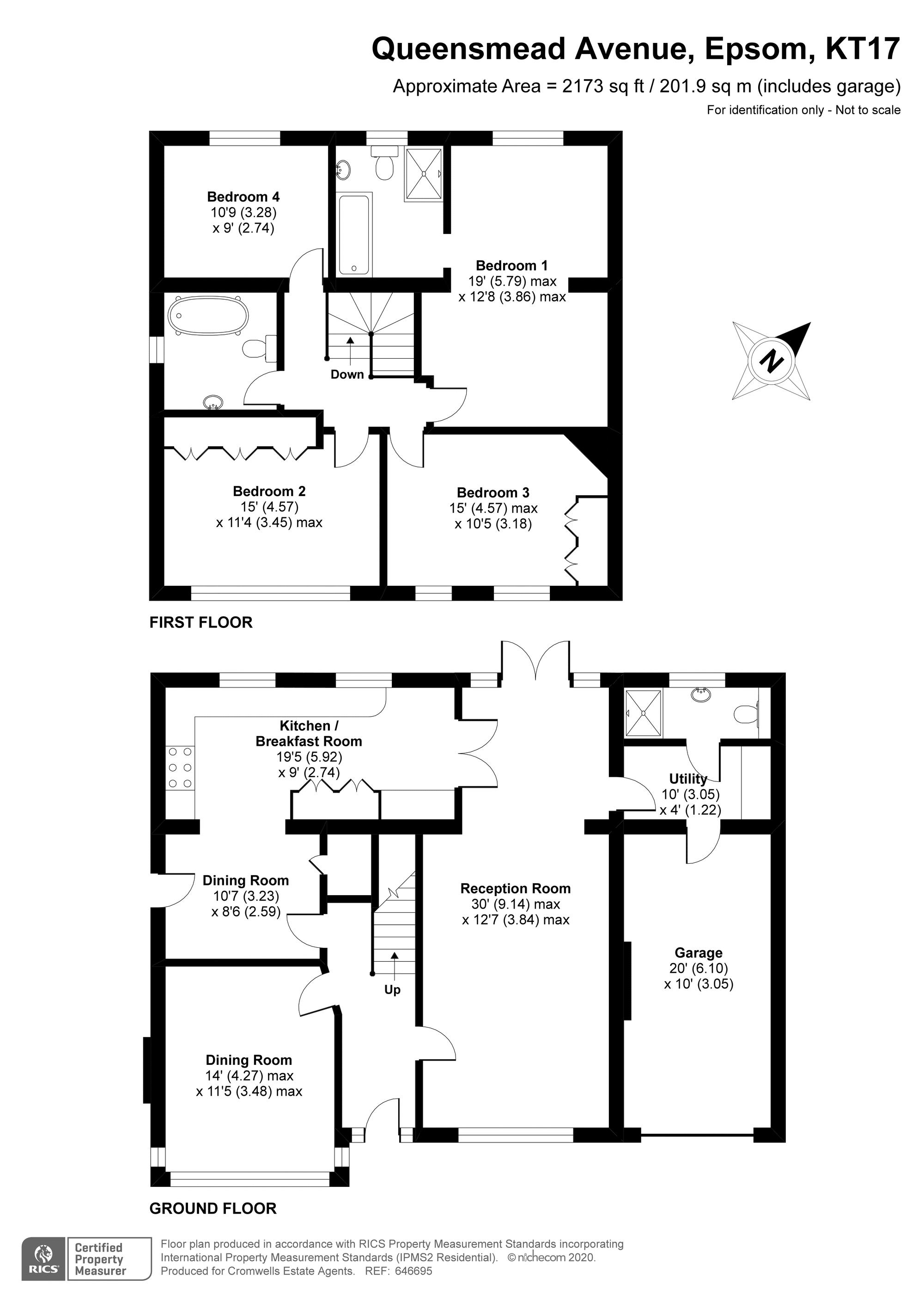 4 bedroom detached house Under Offer in Epsom - floorplan 1.