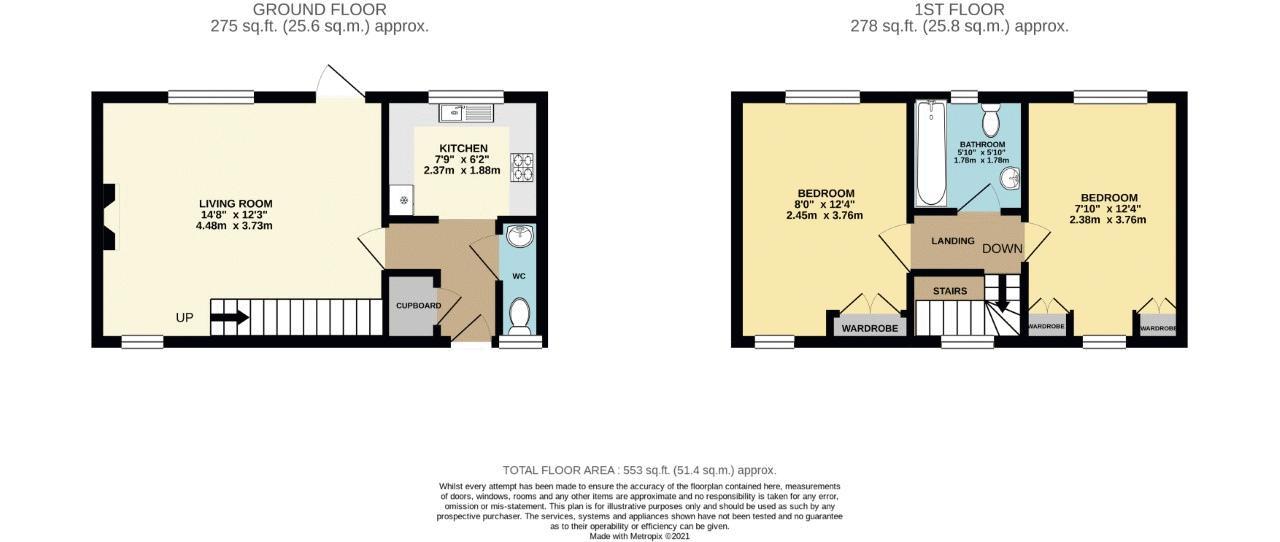2 bedroom terraced house SSTC in Sutton - floorplan 1.
